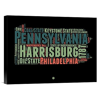 Naxart 'Pennsylvania Word Cloud 1' Textual Art on Wrapped Canvas; 12'' H x 16'' W x 1.5'' D