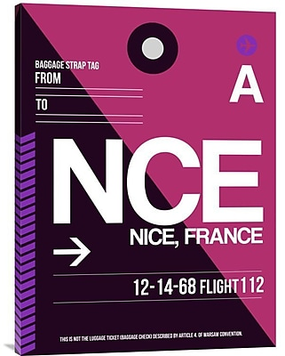Naxart 'NCE Nice Luggage Tag 1' Graphic Art on Wrapped Canvas; 32'' H x 24'' W x 1.5'' D