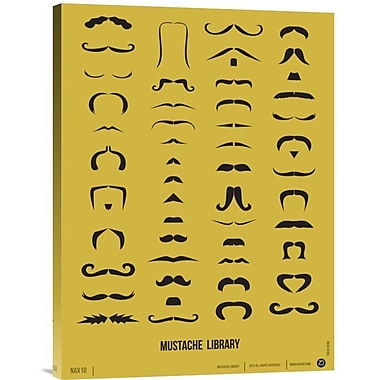 Naxart 'Mustache Library Poster' Graphic Art on Wrapped Canvas; 24'' H x 18'' W x 1.5'' D