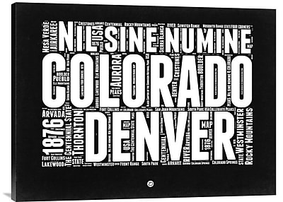 Naxart 'Colorado Black and White Map' Textual Art on Wrapped Canvas; 24'' H x 32'' W x 1.5'' D