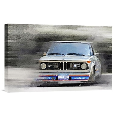 Naxart '1974 BMW 2002 Turbo Watercolor' Painting Print on Wrapped Canvas; 12'' H x 18'' W x 1.5'' D