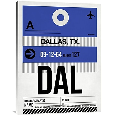 Naxart 'DAL Dallas Luggage Tag 1' Graphic Art on Wrapped Canvas; 32'' H x 24'' W x 1.5'' D