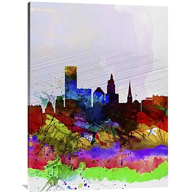 Naxart 'Providence Watercolor Skyline' Graphic Art on Wrapped Canvas; 40'' H x 30'' W x 1.5'' D