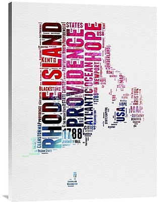 Naxart 'Rhode Island Watercolor Word Cloud' Textual Art on Wrapped Canvas; 32'' H x 24'' W x 1.5'' D