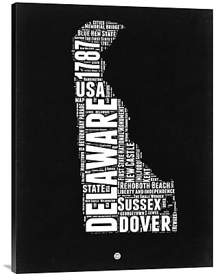 Naxart 'Delaware Black and White Map' Textual Art on Wrapped Canvas; 32'' H x 24'' W x 1.5'' D