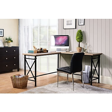 Homestar (Z1610378) Banquo Corner Desk in Reclaimed Wood Finish and Metal Legs