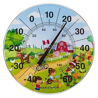 Marathon – Grand thermomètre intérieur/extérieur 12 po, scène de ferme