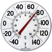 "Marathon Large 12"" Institutional Indoor/Outdoor Thermometer, White"
