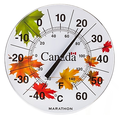 Marathon – Grand thermomètre intérieur/extérieur 12 po, érable dans le vent