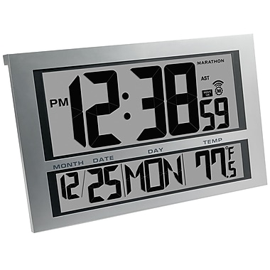 Marathon Commercial Grade Jumbo Atomic Wall Clock with 6 Time Zones, Indoor Temperature & Date, Silver (CL030025SV)