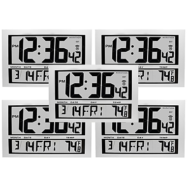 Marathon Commercial Grade Jumbo Atomic Wall Clock with 6 Time Zones, Indoor Temperature & Date - 5 Pack (CL030025-5)