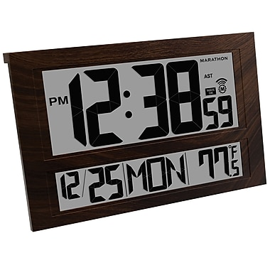 Marathon Commercial Grade Jumbo Atomic Wall Clock with 6 Time Zones, Indoor Temperature & Date, Wood Tone (CL030025WD)