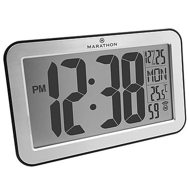 Marathon Atomic Self-Setting/Adjusting Wall Clock with Stand & 8 Timezones, Silver (CL030033SV)