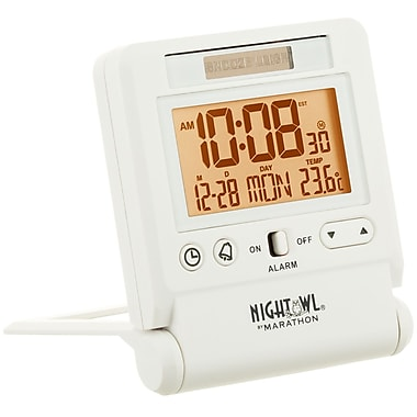 Marathon Atomic Travel Alarm Clock with Auto Night Light Feature, White (CL030036WH)