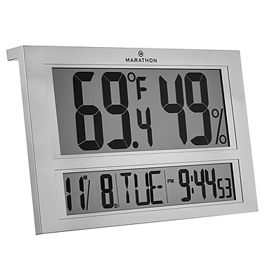 Marathon Jumbo Digital Thermometer with Humidity, Atomic Clock and Calendar (CL030040)