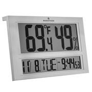 Marathon –  Thermomètre et hygromètre digital Jumbo pour l'intérieur, comprend une horloge et un calendrier