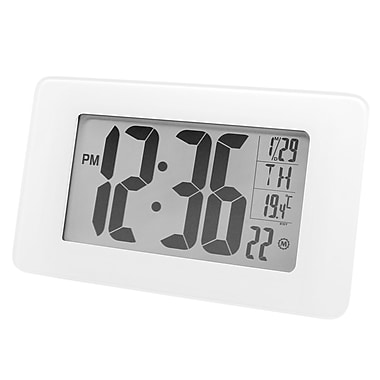 Marathon Atomic Self-Setting/Adjusting Wall Clock with Stand & 8 Timezones, White Tempered Glass (CL030041BG)