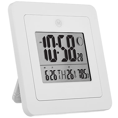 Marathon Digital Wall Clock with Day, Date, Week Number, Temperature, Alarm & Moon Phase, White (CL030049WH)