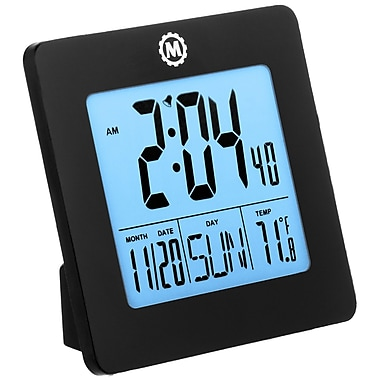 Marathon Digital Desktop Clock with Day, Date, Temperature, Alarm and Backlight, Black (CL030050BK)