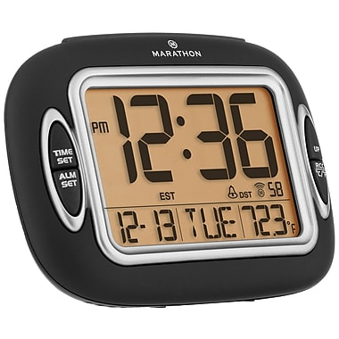 Marathon Atomic Alarm Clock With Auto-Night Light, Temperature & Date, Black (CL030051BK)