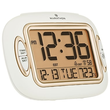Marathon Atomic Alarm Clock With Auto-Night Light, Temperature & Date, White (CL030051WH)