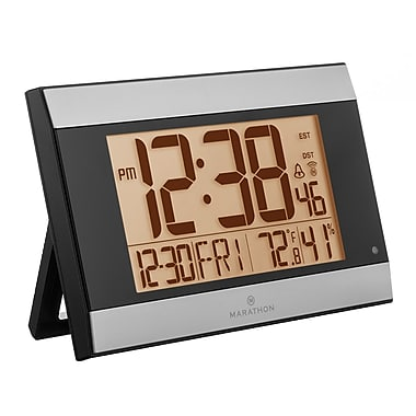 Marathon Atomic Digital Wall Clock With Auto-Night Light, Temperature & Humidity, Graphite Grey (CL030052GG)