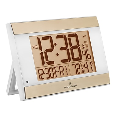 Marathon Atomic Digital Wall Clock With Auto-Night Light, Temperature & Humidity, White (CL030052WH)