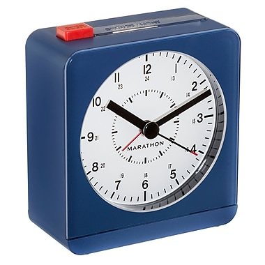 Marathon Analog Desk Alarm Clock with Auto-Night Light, Blue (CL030053BL)