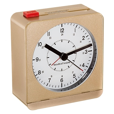 Marathon Analog Desk Alarm Clock with Auto-Night Light, Gold (CL030053GD)