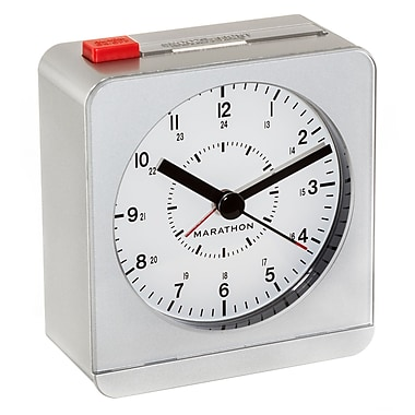 Marathon Analog Desk Alarm Clock with Auto-Night Light, Silver (CL030053SV)
