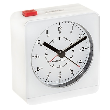 Marathon Analog Desk Alarm Clock with Auto-Night Light, White (CL030053WH)