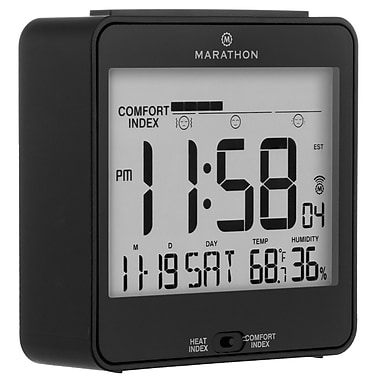 Marathon Atomic Desk Clock, With Backlight, Heat & Comfort Index, Black (CL030054BK)