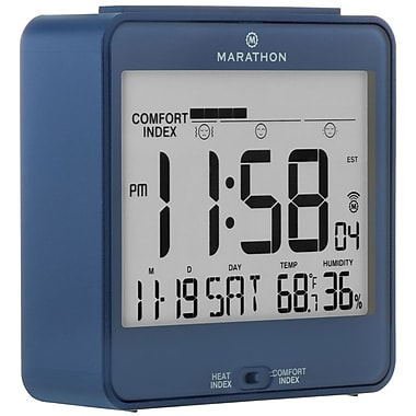 Marathon Atomic Desk Clock, With Backlight, Heat & Comfort Index, Blue (CL030054BL)