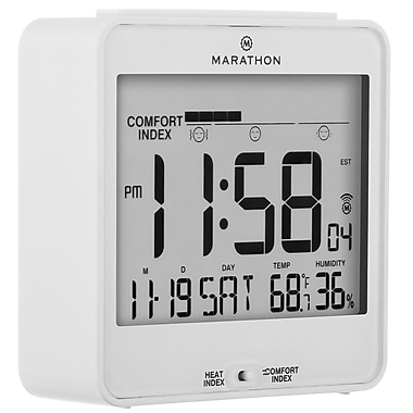 Marathon Atomic Desk Clock, With Backlight, Heat & Comfort Index, White (CL030054WH)