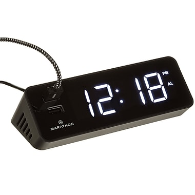 Marathon LED Alarm Clock with Two Fast Charging, Front Facing USB Ports, Black (CL030055BK)