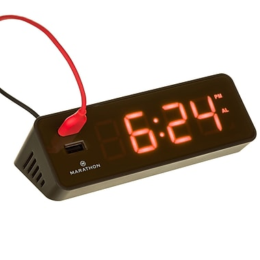 Marathon LED Alarm Clock with Two Fast Charging, Front Facing USB Ports, Coco Brown (CL030055CO)