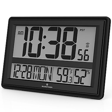 Marathon Jumbo Atomic Wall Clock with Temperature and Humidity, Black (CL030056BK)
