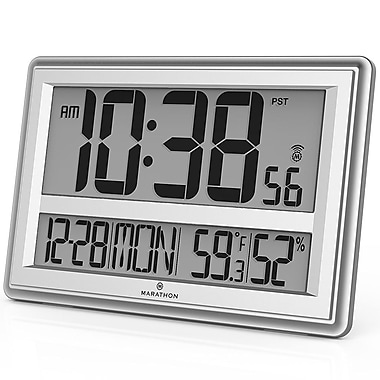 Marathon Jumbo Atomic Wall Clock with Temperature and Humidity, Silver (CL030056SV)