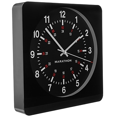 Marathon Large 12-Inch Analog Wall Clock with Auto-Night Light & Silent Sweep, Black/Black (CL030057BK-BK1)