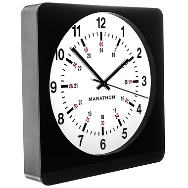 Marathon Large 12-Inch Analog Wall Clock with Auto-Night Light & Silent Sweep, Black/White (CL030057BK-WH1)