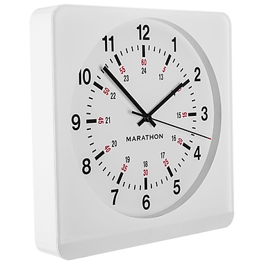 Marathon Large 12-Inch Analog Wall Clock with Auto-Night Light & Silent Sweep, White/White (CL030057WH-WH1)
