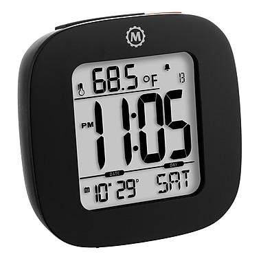 Marathon - Réveil compact Cl030058bk avec température et date, 3 x 3 x 1 po, noir