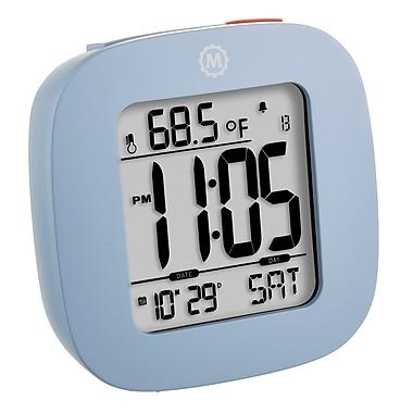 Marathon - Réveil compact Cl030058bl avec température et date, 3 x 3 x 1 po, bleu