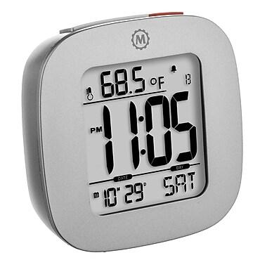 Marathon - Réveil compact Cl030058gg avec température et date, 3 x 3 x 1 po, gris graphite