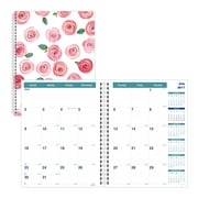 "2017-2018 Brownline® Academic Monthly Planner, 11"" x 8-1/2"", 14 Months, Rose Watercolor Design (CA701PT.ASX)"
