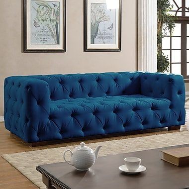 Willa Arlo Interiors Abadie Tufted Large Chesterfield Sofa; Dark Blue