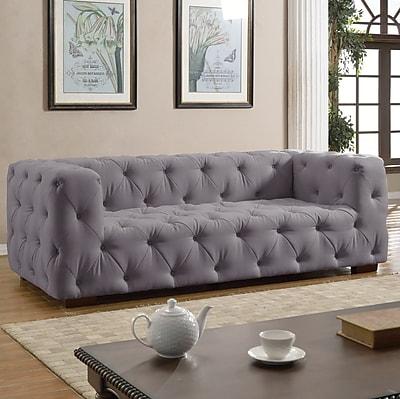 Willa Arlo Interiors Abadie Tufted Large Chesterfield Sofa; Light Gray