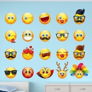 Innovative Stencils 20 Piece Emojis Emotion Faces Wall Decal Set