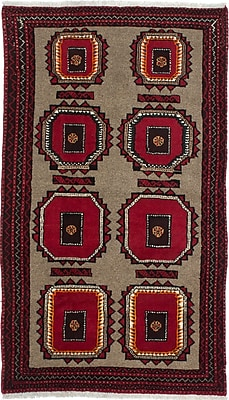 ECARPETGALLERY One-of-a-Kind Finest Baluch Wool Hand-Knotted Gray/Red Area Rug