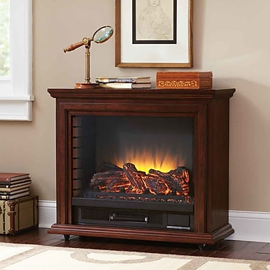 Charlton Home McGregor Mobile 32'' TV Stand w/ Electric Fireplace; Mahogany